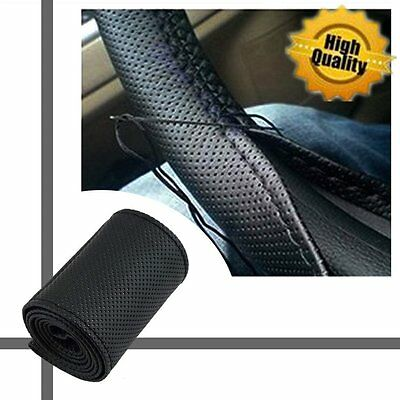 DIYPU Leather Car Auto Steering Wheel Cover With Needles and Thread Black HOT BE