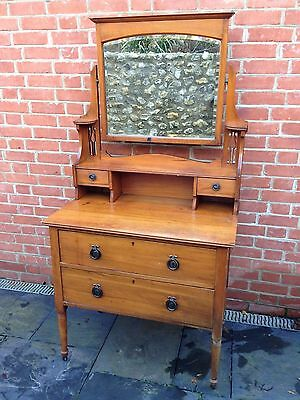 Art Nouveau Arts & crafts Satin Walnut dressing table chest of drawers mirror