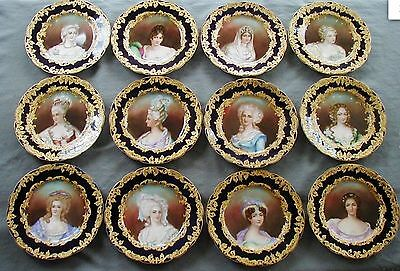 Antique French Limoges Cobalt Porcelain Portrait Cabinet Plate Charger Lot 12