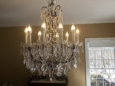Magical Antique Vintage Italian Crystal Beaded Directoire Chandelier 12 Light