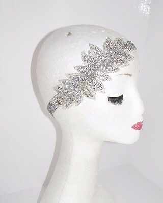 Silver Diamante Headpiece Headband 1920s Flapper Great Gatsby Vintage Hair 2518