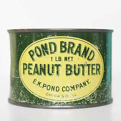 Vintage 1 lb Pond Brand Peanut Butter Can Tin