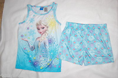 Girls Pajamas Set DISNEY FROZEN ELSA Aqua SHORTS TANK TOP Spring Summer XL 14-16