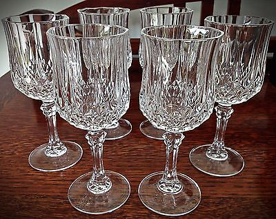 Vintage Beautiful Set of 6 Crystal Wine Glasses