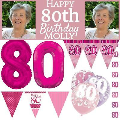 Pink Age 80 Happy 80th Birthday Party Decorations Female Celebration