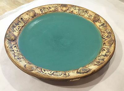 Chatham Pottery Mermaid Serving Platter - Caribbean Blue / Raw Edge