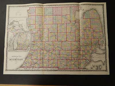 Michigan State Map Hand Color  1872  J7#98