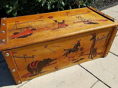 Antique Mid Century Toy Box Chest Circus Theme