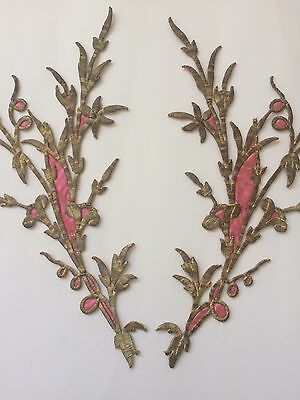 Huge Pieces Antique Ottoman Turkish Gold Metallic Hand Embroidery For Applique