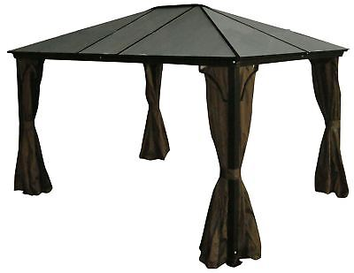 7mm Polycarbonate Roof Gazebo Casa - 10x10 with Mosquito Netting Included