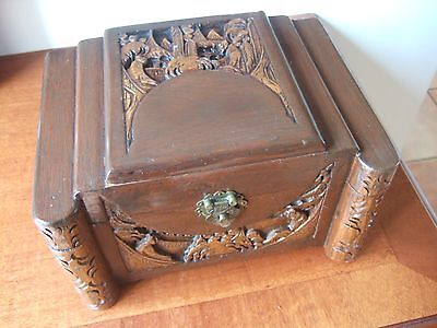 Lovely Vintage Chinese / Oriental Carved Hardwood Shaped Jewellery Chest / Box