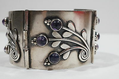 """E126 Signed 1940s Mexico Silver Amethyst Bracelet 1 5/16th """" Wide 6 7/8th """" Long"""