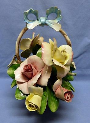 """Capodimonte Nouva  Roses Flowers Buds Basket w/Blue Bow Hand Painted SZ 8.75""""H"""