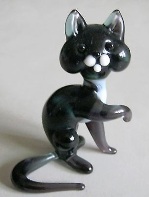russian glass animal black cat  murano figurine art hand blown