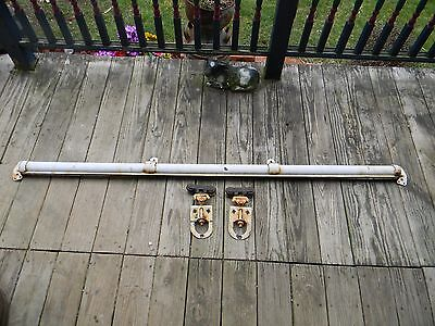 Complete System Myers Antique Barn Door Rollers With Track, End Caps and Hangers