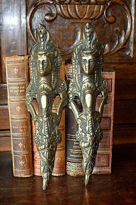 Antique Pair of French Brass Figural Female Pediments Furniture Mounts