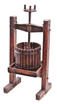 Unique Late 19Th Century Old American Wine Maker'swood Press With Large Cast Iro
