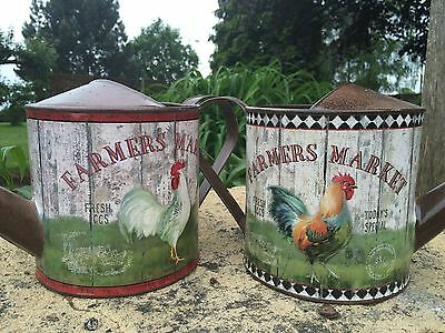 Small Watering Can Vintage Shabby Country Style Cockerel Garden Pot Herb Planter