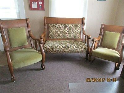 antique 3 piece parler furniture chair, rocker and sofa