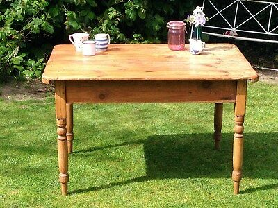 Rustic Antique Victorian Farmhouse Country Kitchen Pine Table W/ Baluster Legs