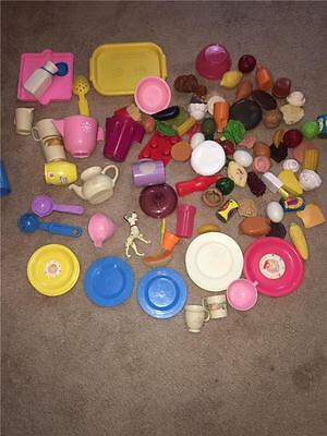 Vintage Barbie Fisher Price Playhouse Kitchen Food Plates Accessories Lot