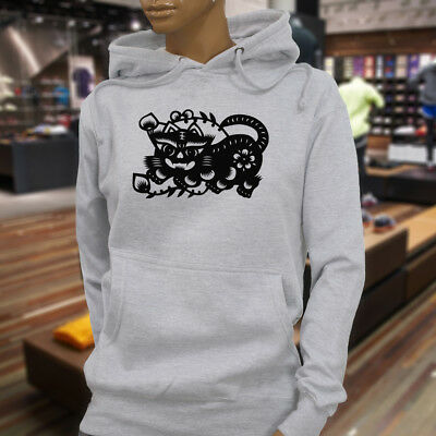 CHINESE ZODIAC TIGER YEAR HOROSCOPE FLORAL LUCK Womens Gray Hoodie