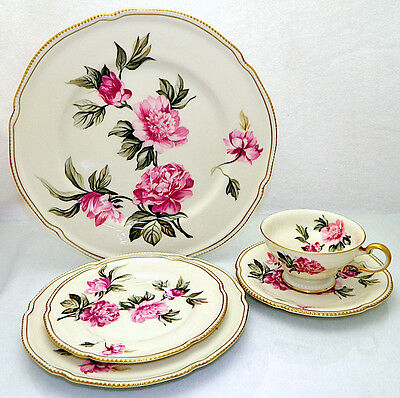 5 pcs Castleton PEONY Dinner Plate, Cup, Saucer, Salad Plate, Bread Butter Plate
