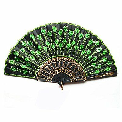 ROSENICE Peacock Hand Held Fans Folding Fan Bamboo Hand Fan with Green Sequins