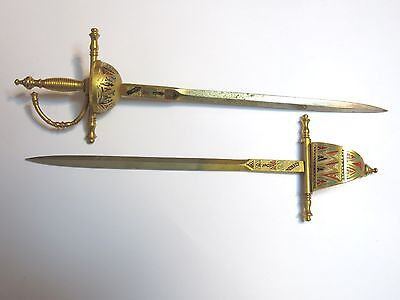"Lot Of 2 Vintage Brass Toned Sword Letter Openers By Toledo 8"" And 8 1/2"" Long"