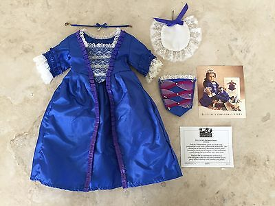 American Girl Doll FELICITY'S BLUE HOLIDAY GOWN Dress Stomacher Cap Necklace
