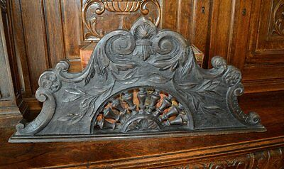 Antique Large Carved Wood French Arched Pediment Breton Acanthus Design