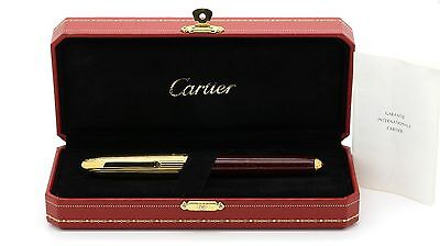 Louis Cartier Fountain Pen Burgundy Lacquer & 18k Gold Plated Box & Certificate.