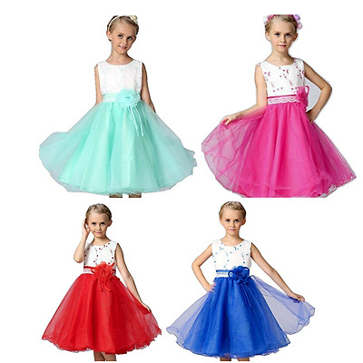 Girls Embriodered Bodice Lace Bridesmaid/ Flower Girl/ Prom Dress