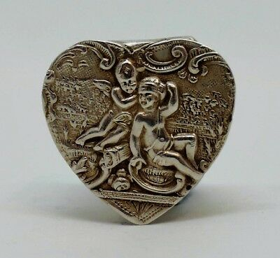 Antique Edwardian Sterling Silver Heart Shaped Pill Box 1903