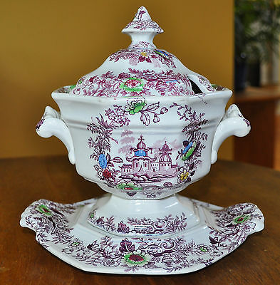 Antique Purple Transferware Polychrome Ironstone Sauce Tureen Wedgwood Tyrol