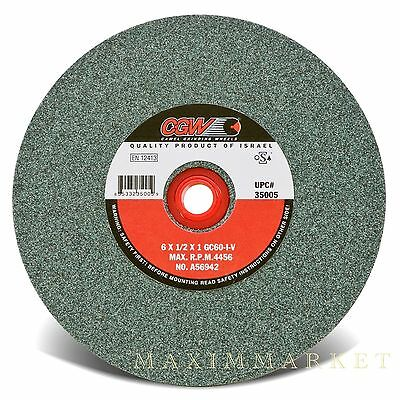 "CGW 6""X1/2""X1"" Green Silicon Carbide Straight Grinding Wheel Grit-60, 80 or 100"