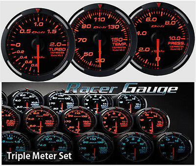 DEFI Racer Gauge Triple Gauge Set 52mm Red (Boost/Temp/Press)