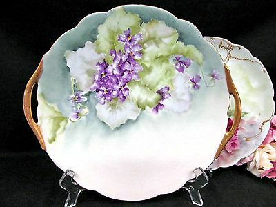 Limoges France Hand Painted Violets Platter Gold Handles Plate