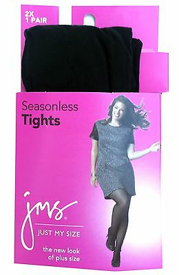 Just My Size Women's Silky Tights Panty Hose, Black, 3X; 2X