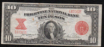 1937 10 Pesos Philippines Red Seal Washington Note!