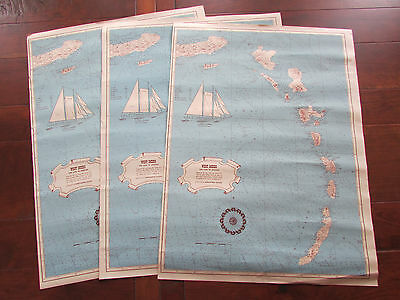 Set of 3 Vtg Yankee Clipper Sailboat Wind Jammer Yacht Schooner Map West Indies