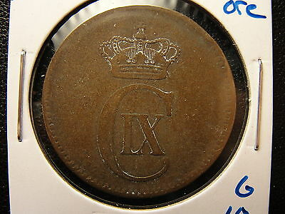 1875 Denmark Five Ore Large Copper Coin (JW)