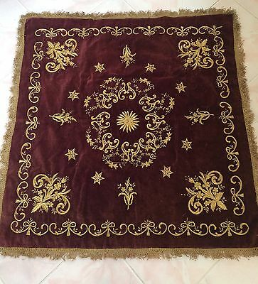 Antique Ottoman Turkish Gold Metallic Hand Embroidery On Velvet Bohca