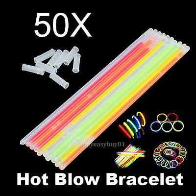 50pcs Glow Sticks Bracelets Necklaces Fluorescent Neon Light Party Night Wedding