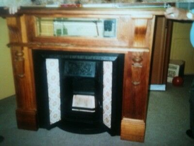 Vintage Australian FIREPLACE MANTEL, HEARTH, SURROUND, MIRROR WITH TILES