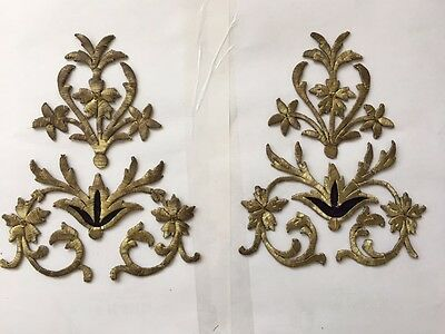 4 PCS ANTIQUE OTTOMAN TURKISH GOLD METALLIC HAND EMBROIDERY FOR APPLIQUE nn4