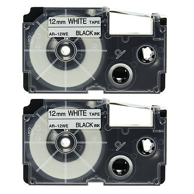 2PACK XR-12WE1 Compatible for Casio Tape Black on White 1/2'' Label KL100 KL750