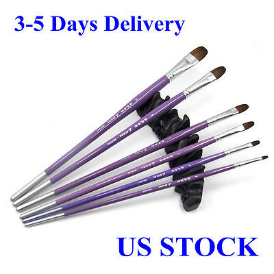 6pcs Eval 100% Pure Kolinsky Sable Arylic Oil Painting Brushes Set Face Painting