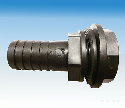 """Tank passage duct Tank connector Overflow Thread 3/4"""" 20 mm Hose connection"""