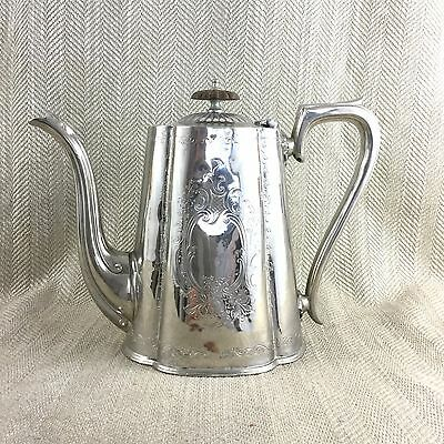 19th C Coffee Pot Antique Victorian Sheffield Silver Plated Engraved Vintage Vtg